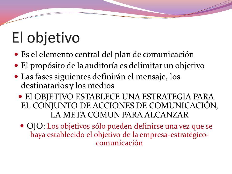 El objetivo Es el elemento central del plan de comunicación El propósito de la auditoría es delimitar un objetivo Las fases siguientes definirán el me