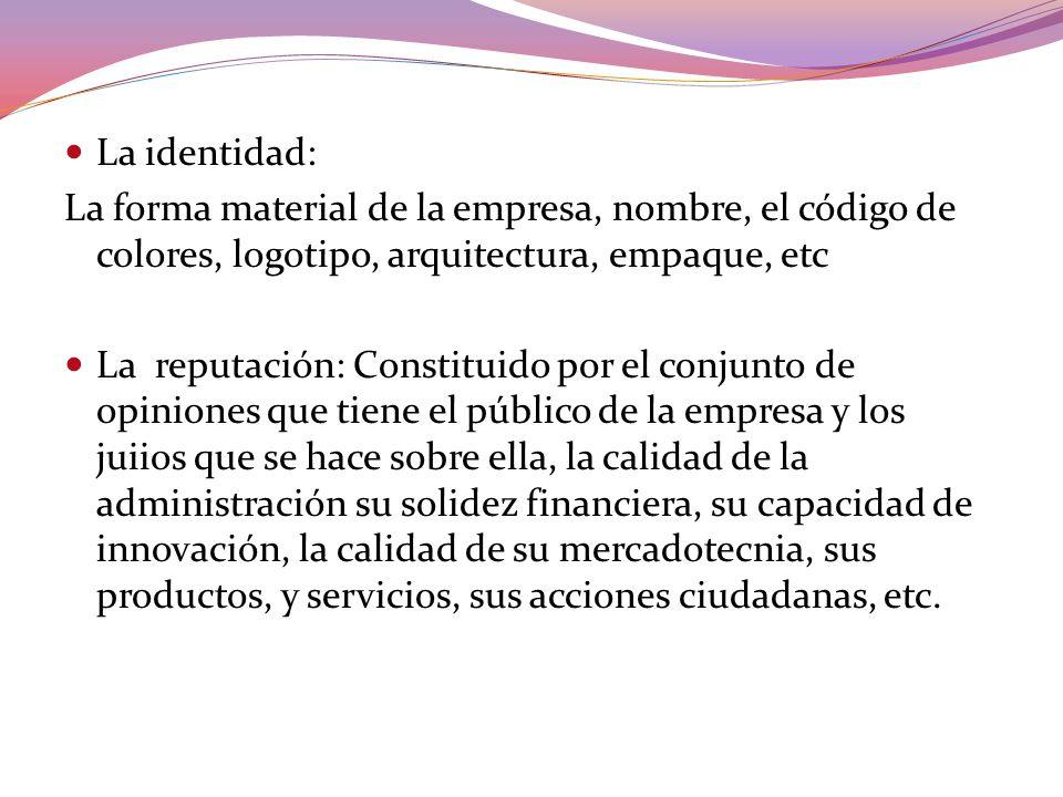 La identidad: La forma material de la empresa, nombre, el código de colores, logotipo, arquitectura, empaque, etc La reputación: Constituido por el co