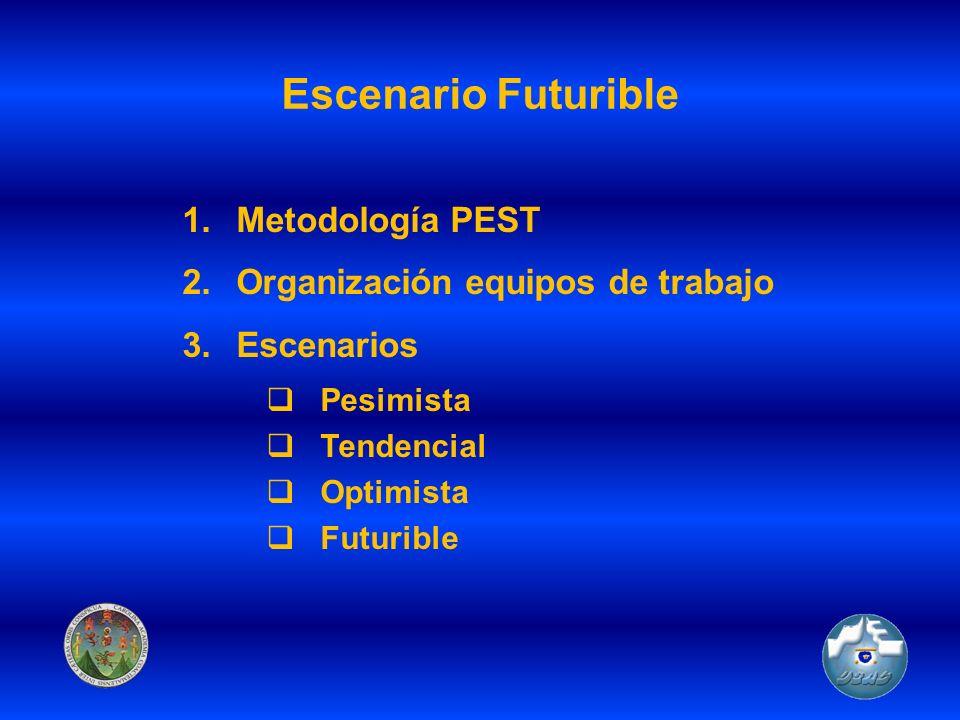 Escenario Futurible 1.Metodología PEST 2.Organización equipos de trabajo 3.Escenarios Pesimista Tendencial Optimista Futurible