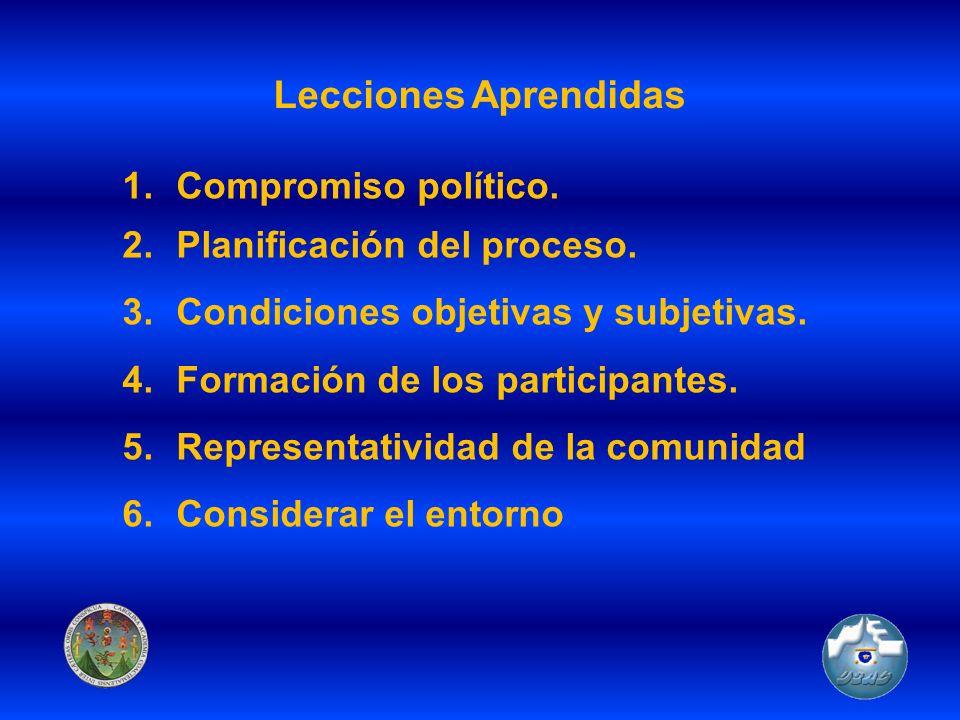 Lecciones Aprendidas 1.Compromiso político. 2.Planificación del proceso. 3.Condiciones objetivas y subjetivas. 4.Formación de los participantes. 5.Rep