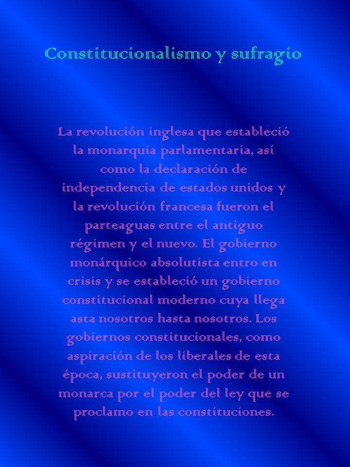 Constitucionalismo y sufragio La revolución inglesa que estableció la monarquía parlamentaria, así como la declaración de independencia de estados uni