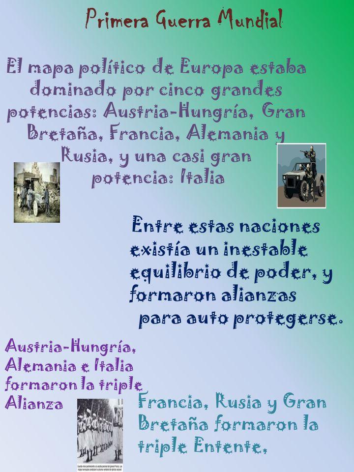 El mapa político de Europa estaba dominado por cinco grandes potencias: Austria-Hungría, Gran Bretaña, Francia, Alemania y Rusia, y una casi gran pote