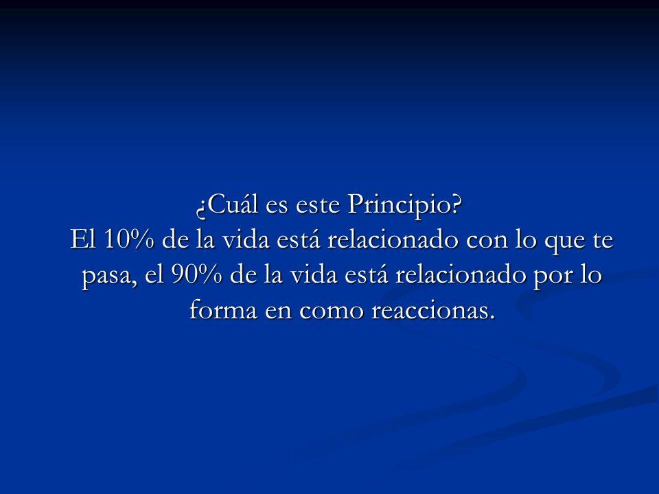 ¿Cuál es este Principio? El 10% de la vida está relacionado con lo que te pasa, el 90% de la vida está relacionado por lo forma en como reaccionas.