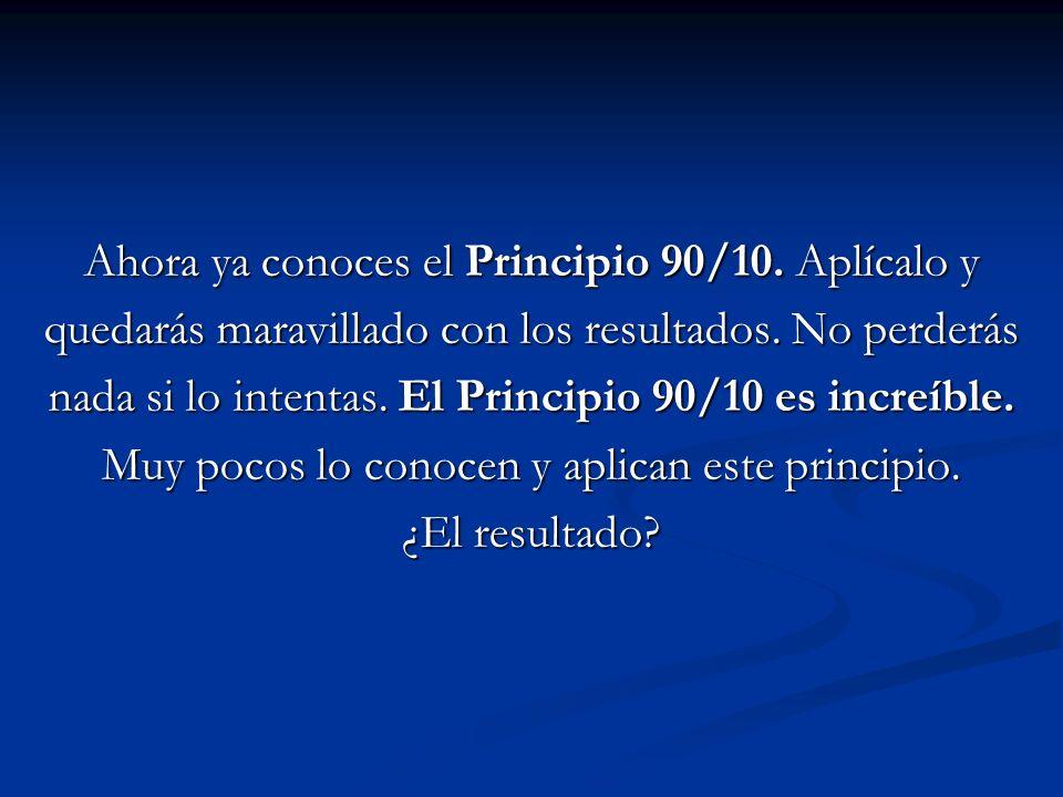 Ahora ya conoces el Principio 90/10. Aplícalo y quedarás maravillado con los resultados. No perderás nada si lo intentas. El Principio 90/10 es increí