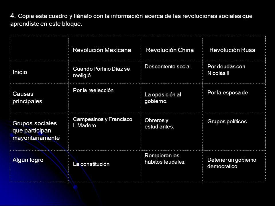 4. Copia este cuadro y llénalo con la información acerca de las revoluciones sociales que aprendiste en este bloque. Revolución Mexicana Revolución Ch