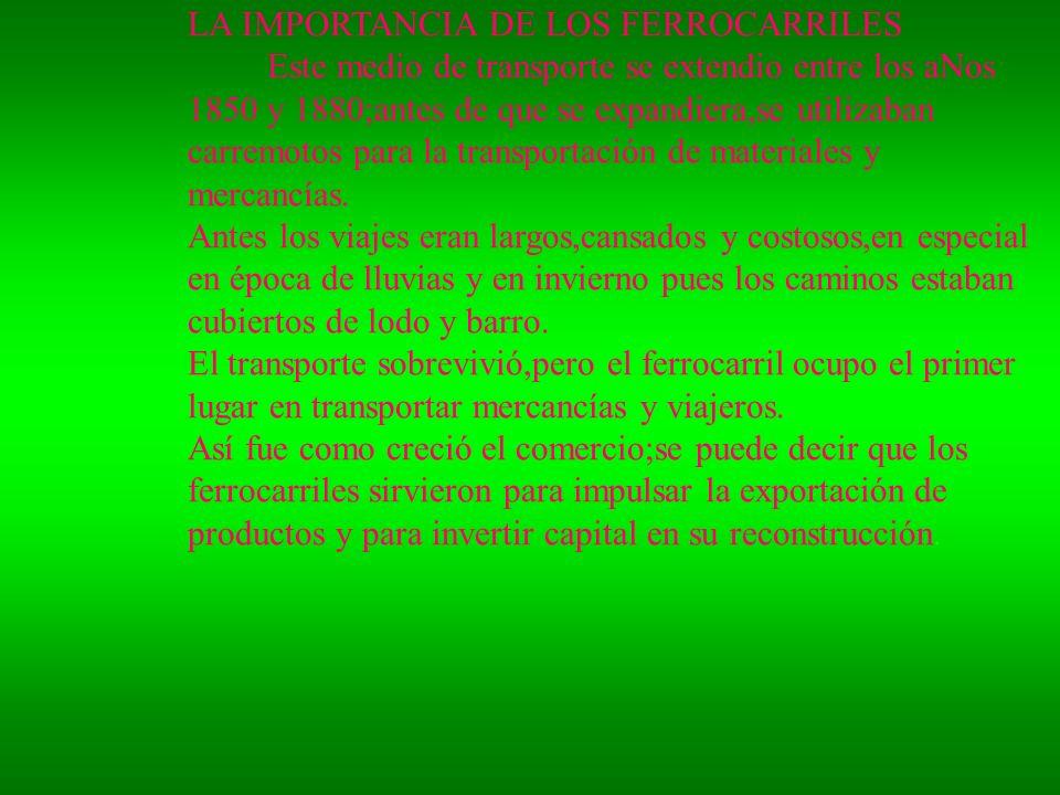 ANTES LOS VIAJES ERAANTES LOS VIAJES ERA LA EXPANSION DE LOS FERROCARRILES LOS VIAJES ANTES ERAN LARGOS CANSADOS COSTOSOS POR ESO SE COMERCIALIZARON MAS PRODUCTOS Y SE INVIRTIO EN SU CAPITAL LA EXPANSION DE LOS FERROCARRILES LOS VIAJES ANTES ERAN
