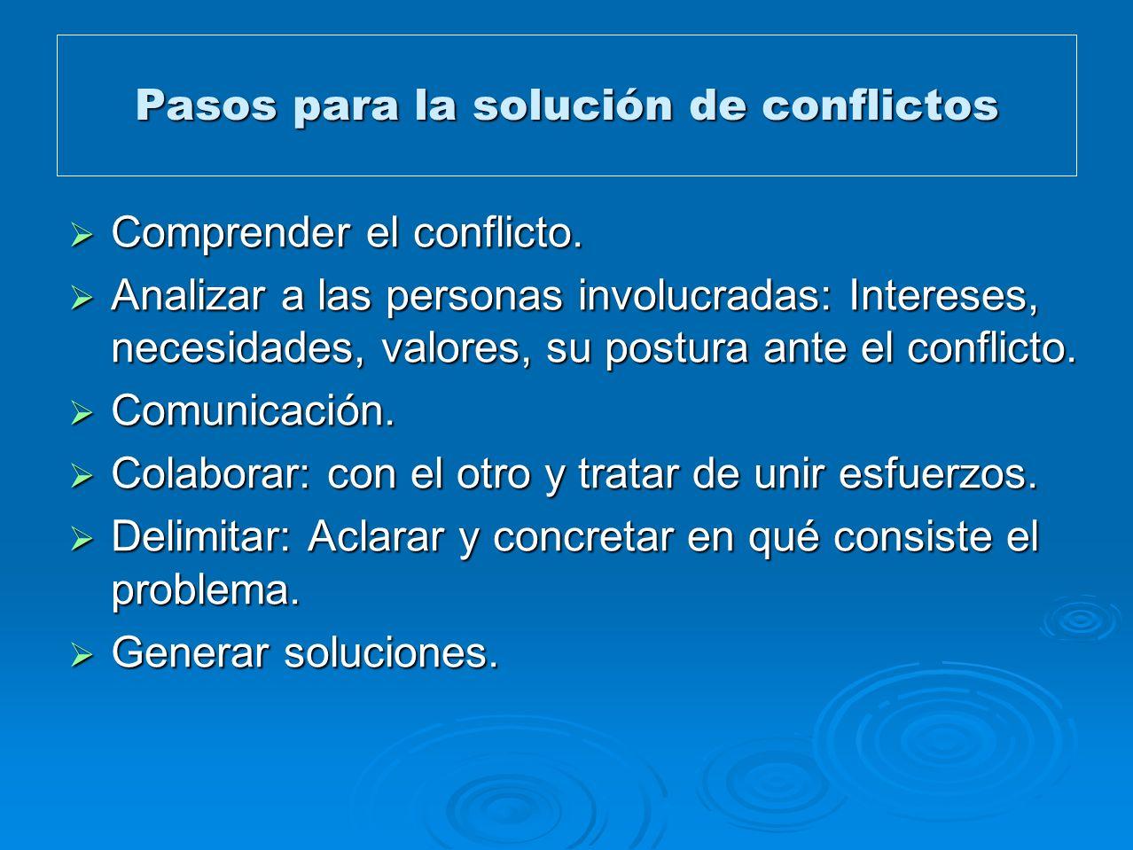 Pasos para la solución de conflictos Comprender el conflicto. Comprender el conflicto. Analizar a las personas involucradas: Intereses, necesidades, v