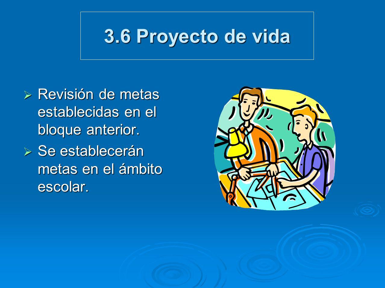 3.6 Proyecto de vida Revisión de metas establecidas en el bloque anterior. Revisión de metas establecidas en el bloque anterior. Se establecerán metas