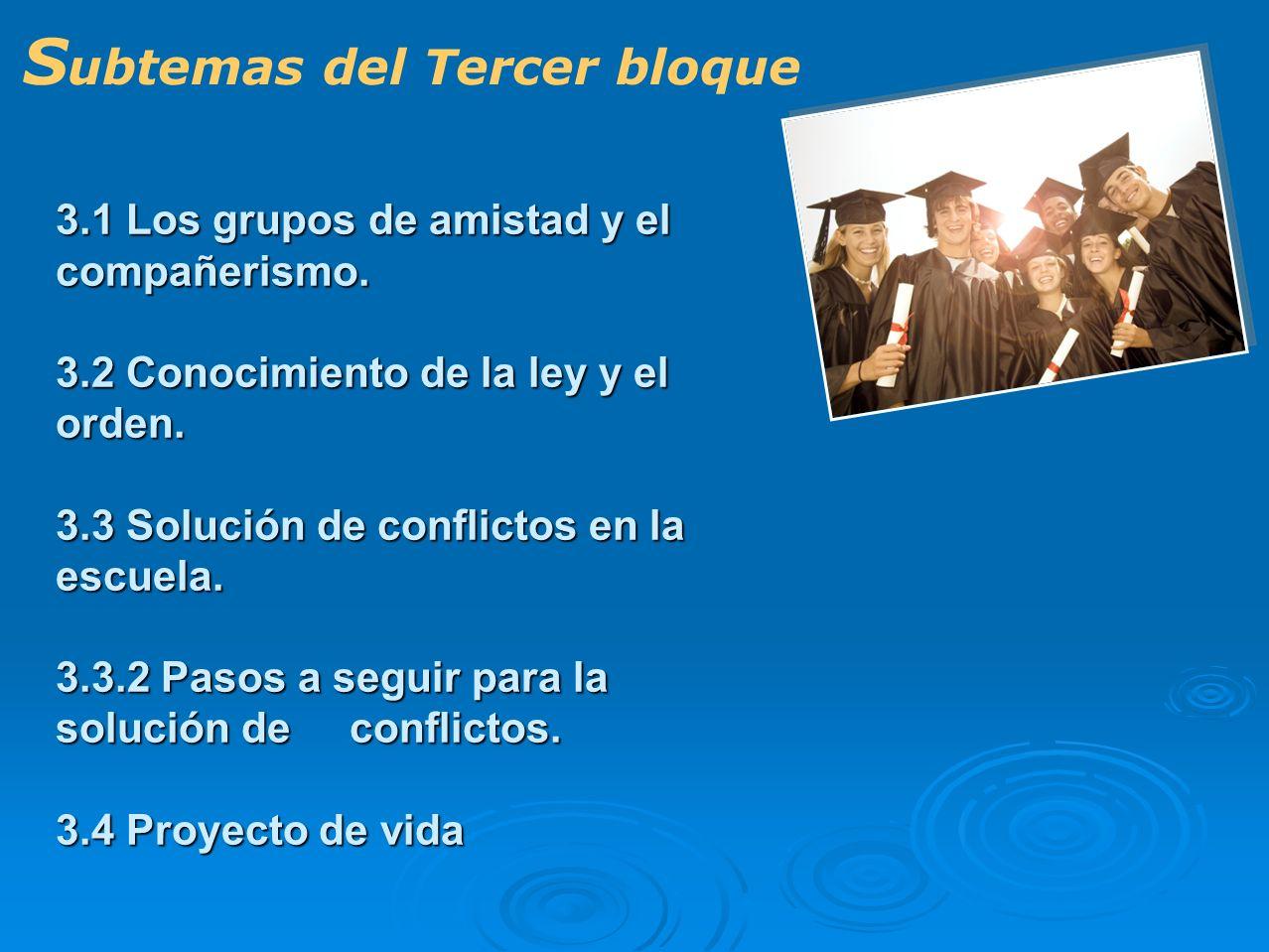 3.1 Los grupos de amistad y el compañerismo. 3.2 Conocimiento de la ley y el orden. 3.3 Solución de conflictos en la escuela. 3.3.2 Pasos a seguir par