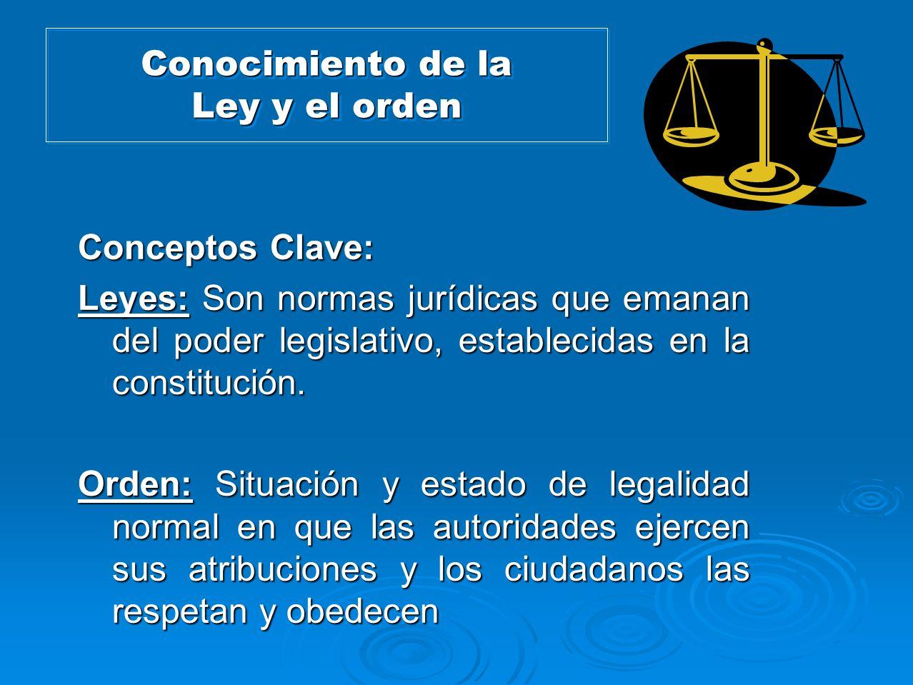 Conocimiento de la Ley y el orden Conceptos Clave: Leyes: Son normas jurídicas que emanan del poder legislativo, establecidas en la constitución. Orde