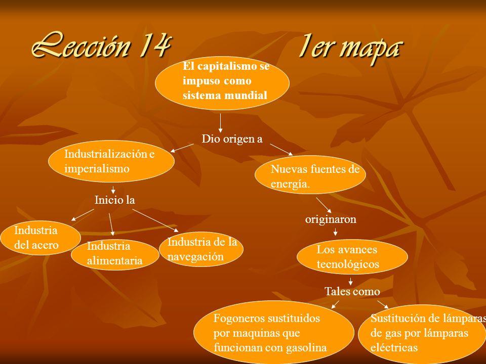 Lección 14 1er mapa El capitalismo se impuso como sistema mundial Dio origen a Industrialización e imperialismo Inicio la Industria del acero Industri