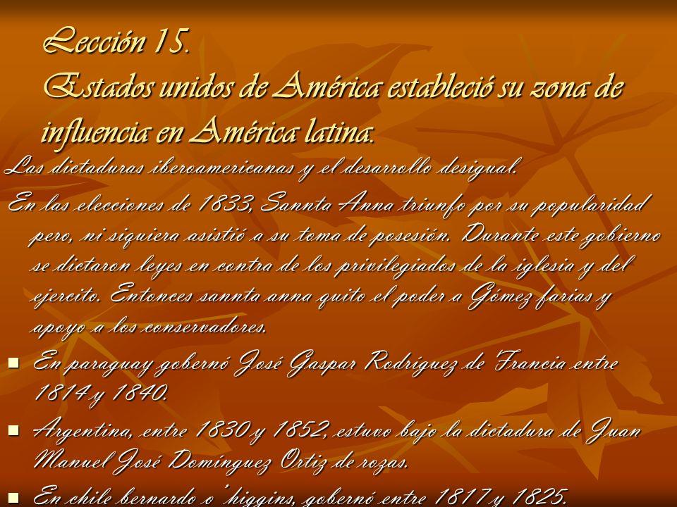 Lección 15. Estados unidos de América estableció su zona de influencia en América latina. Las dictaduras iberoamericanas y el desarrollo desigual. En