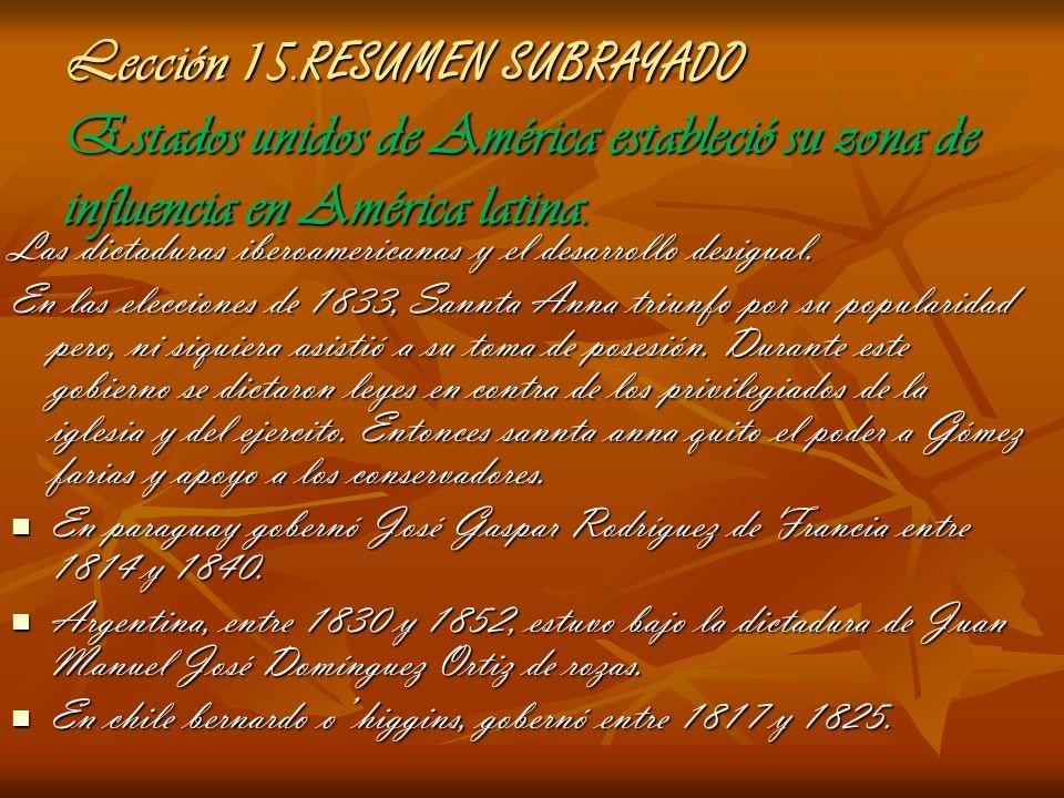 Lección 15. RESUMEN SUBRAYADO Estados unidos de América estableció su zona de influencia en América latina. Las dictaduras iberoamericanas y el desarr