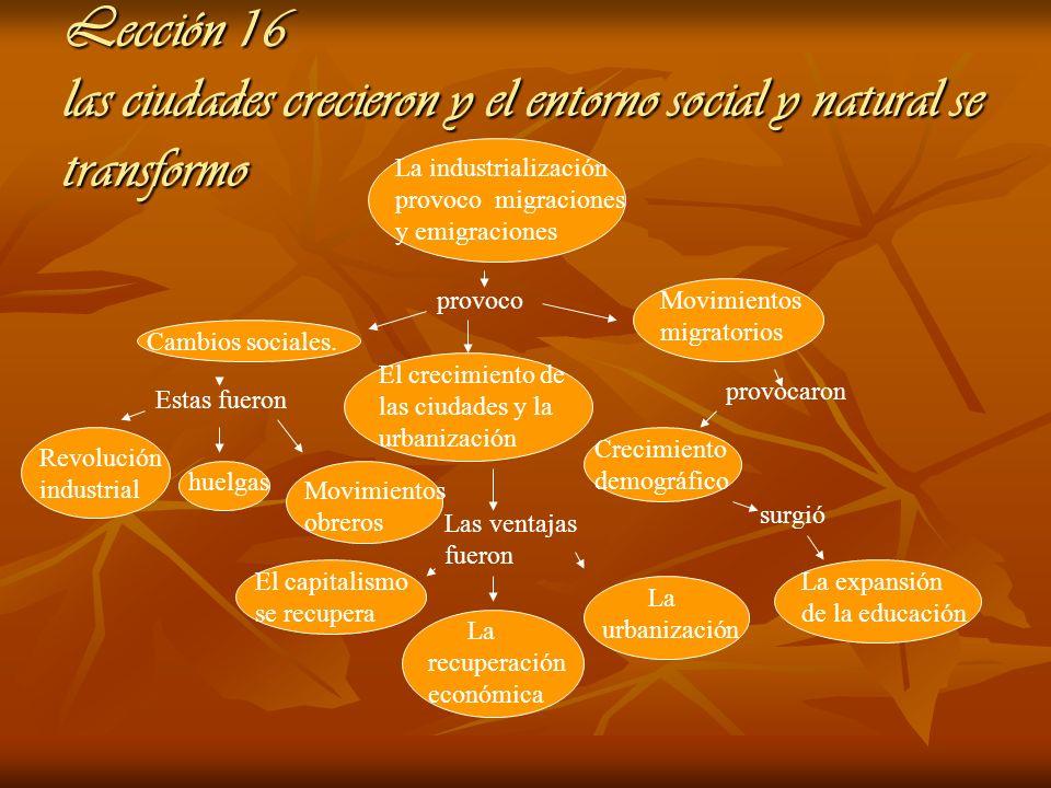 Lección 16 las ciudades crecieron y el entorno social y natural se transformo La industrialización provoco migraciones y emigraciones provoco Cambios