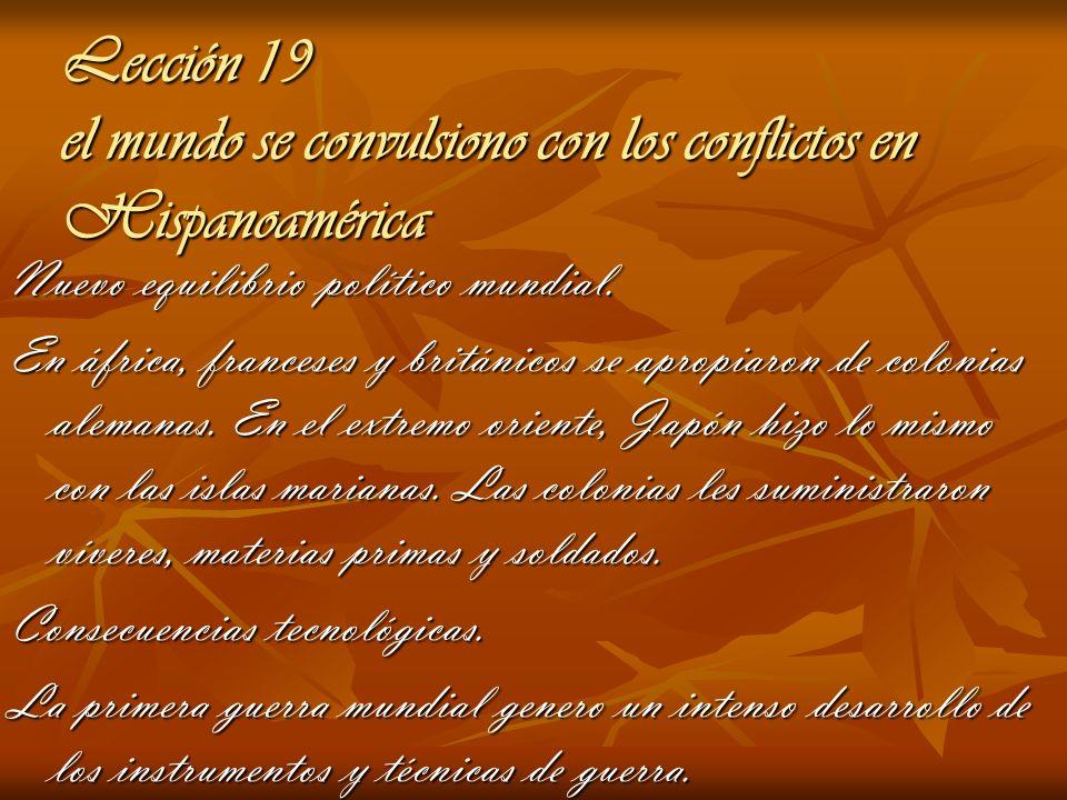 Lección 19 el mundo se convulsiono con los conflictos en Hispanoamérica Nuevo equilibrio político mundial. En áfrica, franceses y británicos se apropi