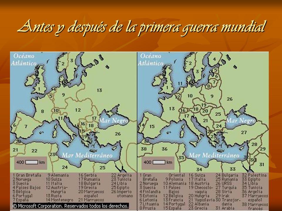 Antes y después de la primera guerra mundial