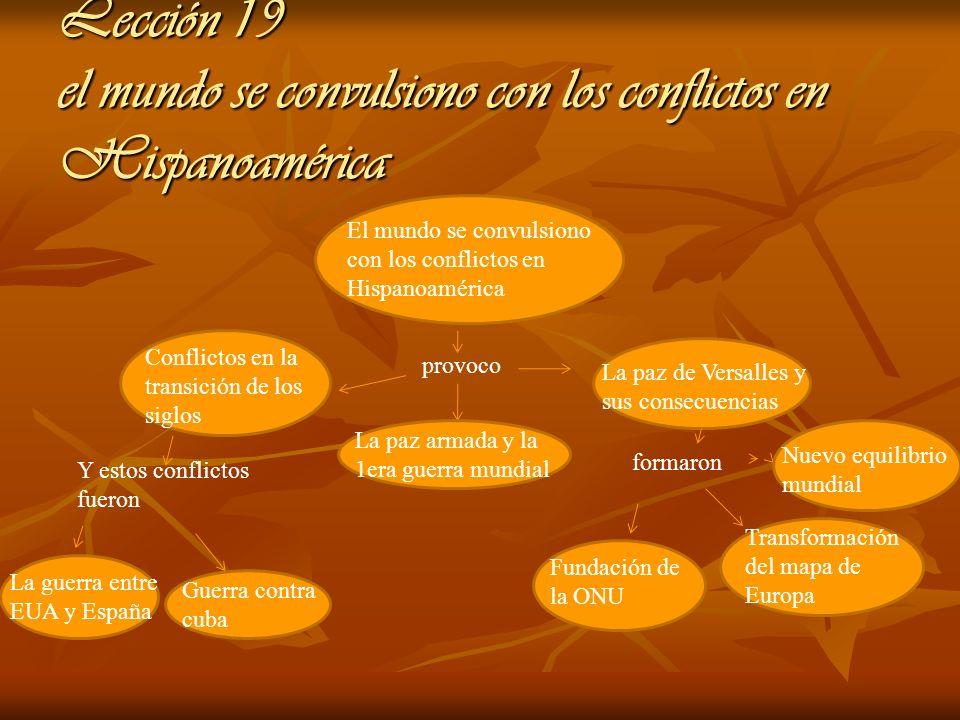 Lección 19 el mundo se convulsiono con los conflictos en Hispanoamérica El mundo se convulsiono con los conflictos en Hispanoamérica provoco Conflicto