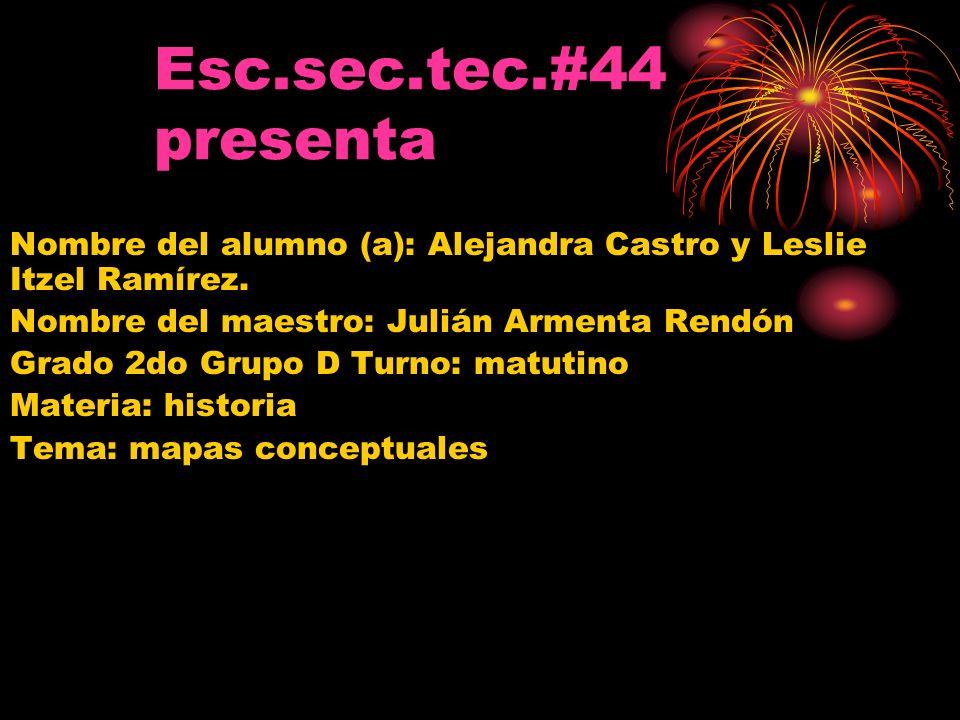 Esc.sec.tec.#44 presenta Nombre del alumno (a): Alejandra Castro y Leslie Itzel Ramírez. Nombre del maestro: Julián Armenta Rendón Grado 2do Grupo D T