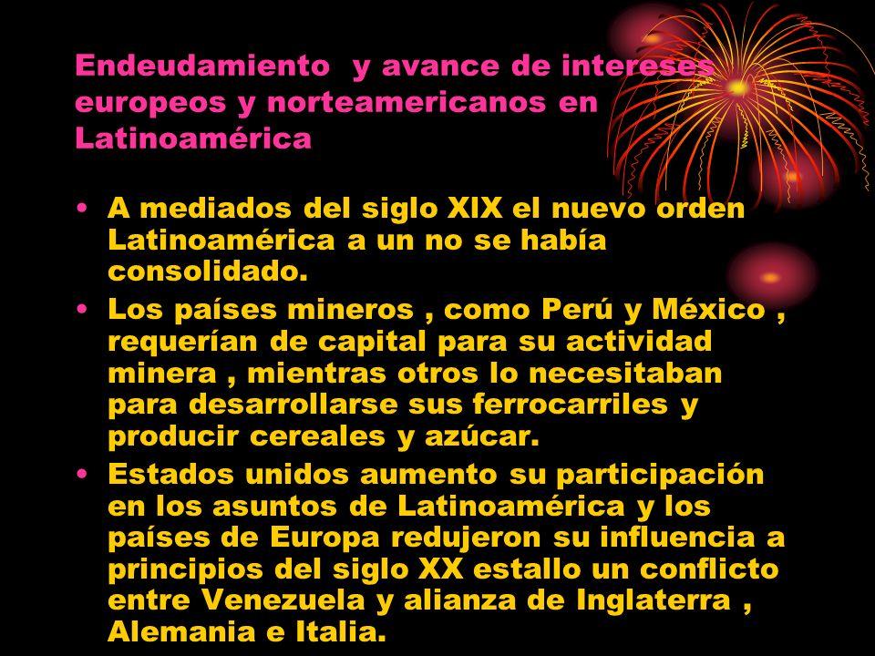 Endeudamiento y avance de intereses europeos y norteamericanos en Latinoamérica A mediados del siglo XlX el nuevo orden Latinoamérica a un no se había