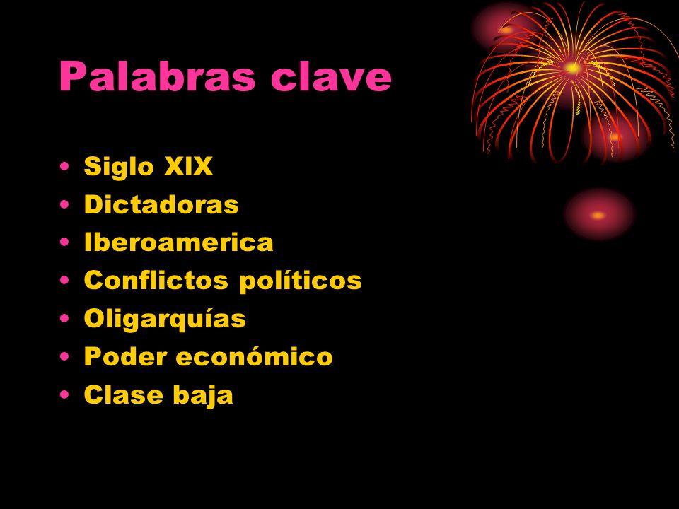 Palabras clave Siglo XlX Dictadoras Iberoamerica Conflictos políticos Oligarquías Poder económico Clase baja