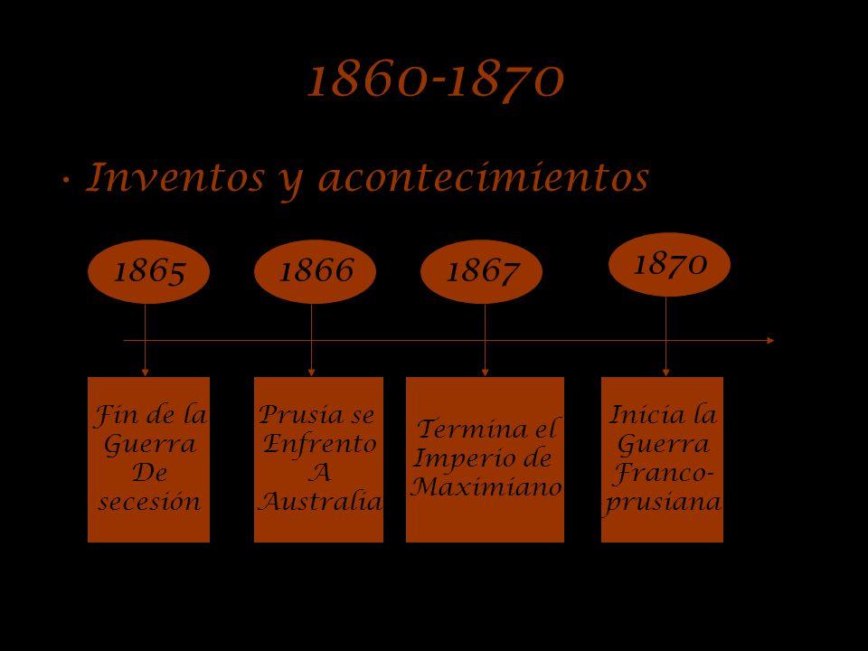 1850-1860 Inventos y acontecimientos 1863 186118591860 Fernando Lusseps Empieza A dirigir El canal De Suez. Inicio de La guerra De secesión Se inaugur