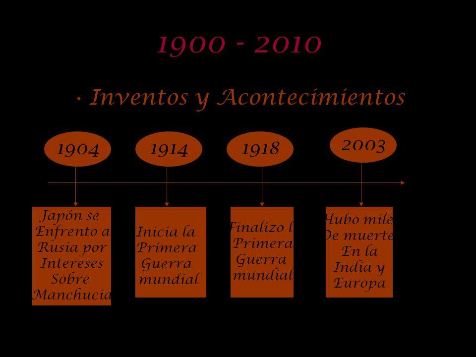 1870 - 1910 Inventos y acontecimientos 1903 190118711877 Finaliza lo Guerra Franco- prusiana Invención Del teléfono Construcción Del primer aeroplano