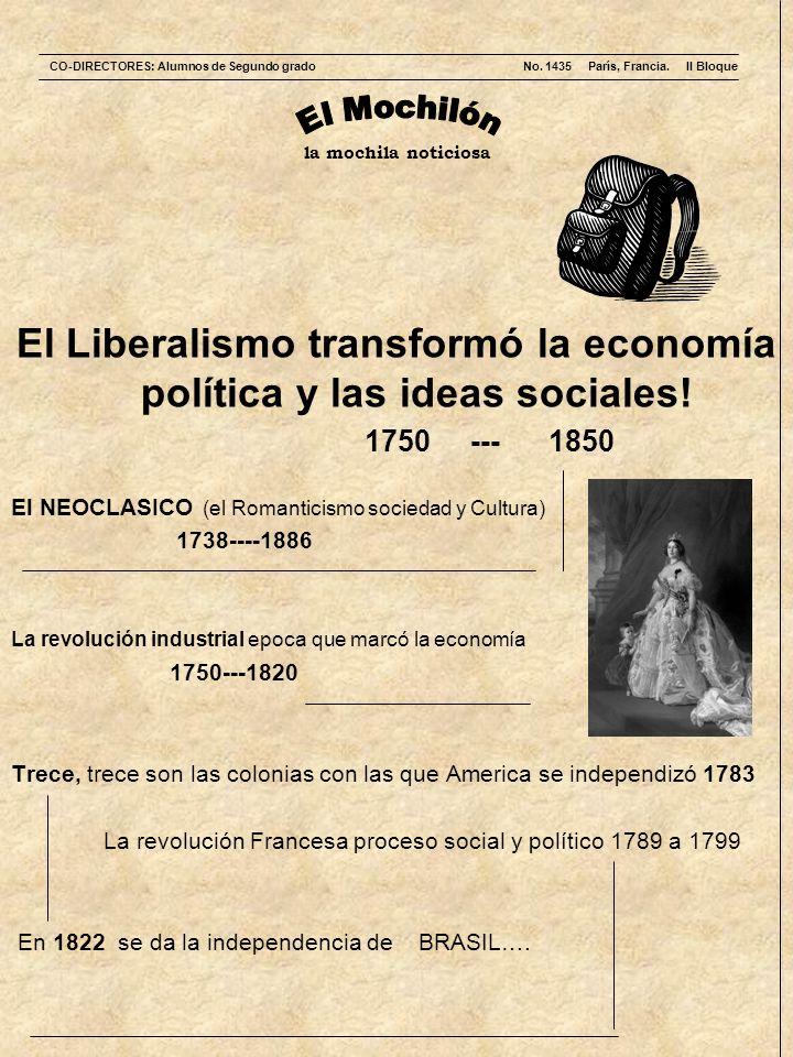 la mochila noticiosa El Liberalismo transformó la economía política y las ideas sociales! 1750 --- 1850 El NEOCLASICO (el Romanticismo sociedad y Cult