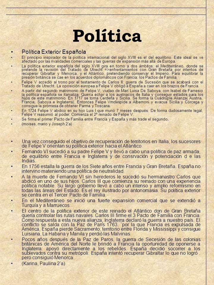 Política Política Exterior Española El principio inspirador de la política internacional del siglo XVIII es el del equilibrio. Este ideal se ve afecta