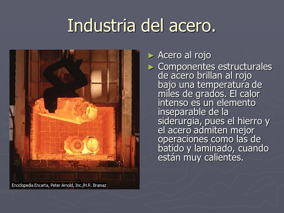 Industria del acero. Acero al rojo Componentes estructurales de acero brillan al rojo bajo una temperatura de miles de grados. El calor intenso es un