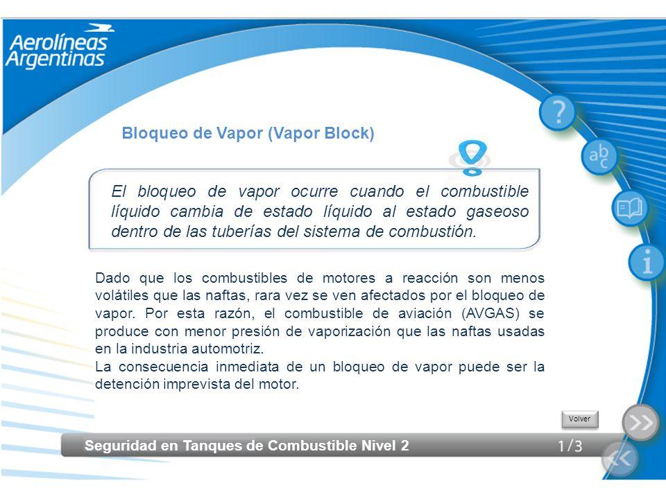 Seguridad en Tanques de Combustible Nivel 2 Bloqueo de Vapor (Vapor Block) El bloqueo de vapor ocurre cuando el combustible líquido cambia de estado l