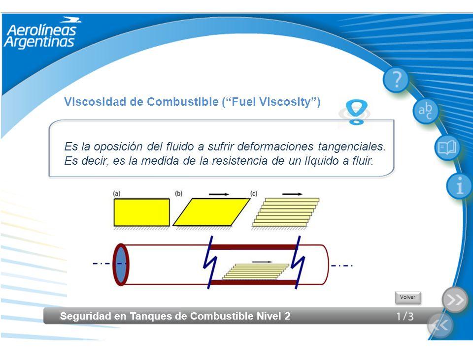 Seguridad en Tanques de Combustible Nivel 2 Viscosidad de Combustible (Fuel Viscosity) Es la oposición del fluido a sufrir deformaciones tangenciales.
