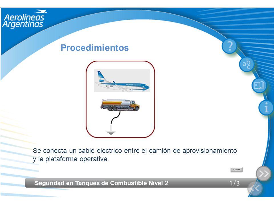 Seguridad en Tanques de Combustible Nivel 2 Procedimientos Se conecta un cable eléctrico entre el camión de aprovisionamiento y la plataforma operativ