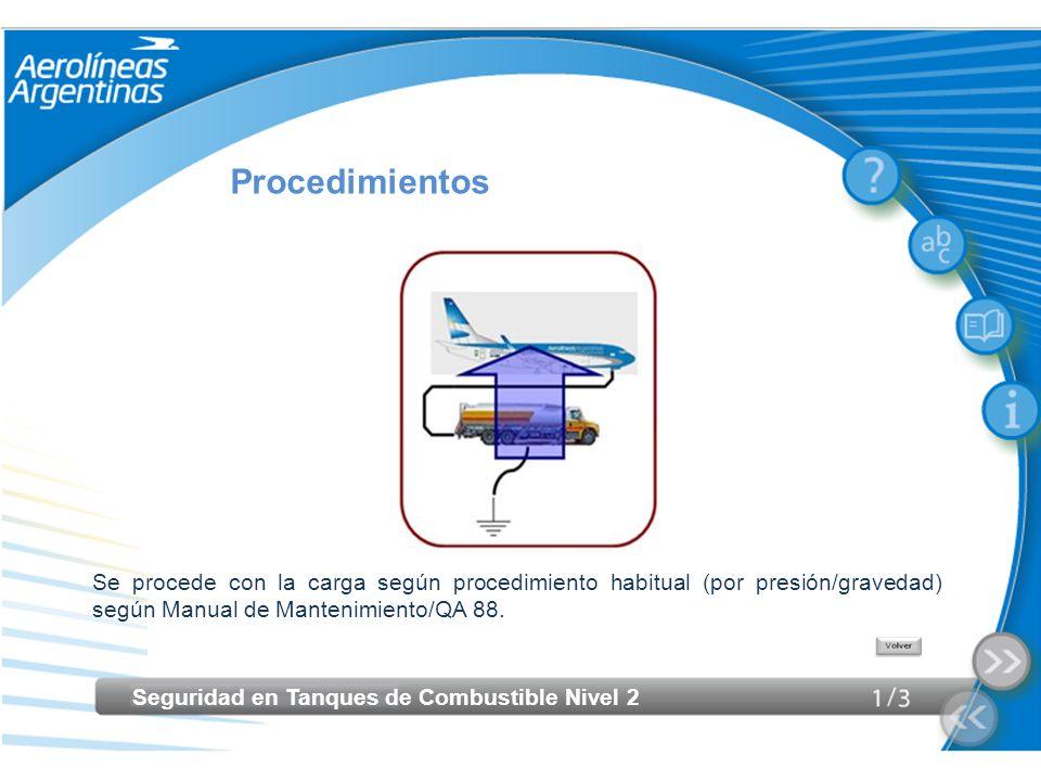Seguridad en Tanques de Combustible Nivel 2 Procedimientos Se procede con la carga según procedimiento habitual (por presión/gravedad) según Manual de