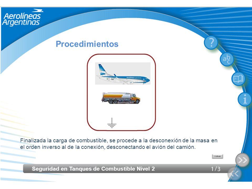Seguridad en Tanques de Combustible Nivel 2 Procedimientos Finalizada la carga de combustible, se procede a la desconexión de la masa en el orden inve