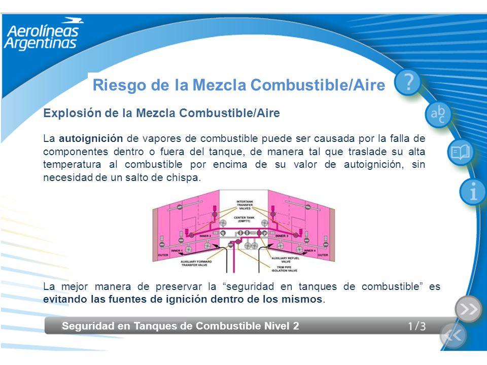 Seguridad en Tanques de Combustible Nivel 2 Riesgo de la Mezcla Combustible/Aire Explosión de la Mezcla Combustible/Aire La autoignición de vapores de