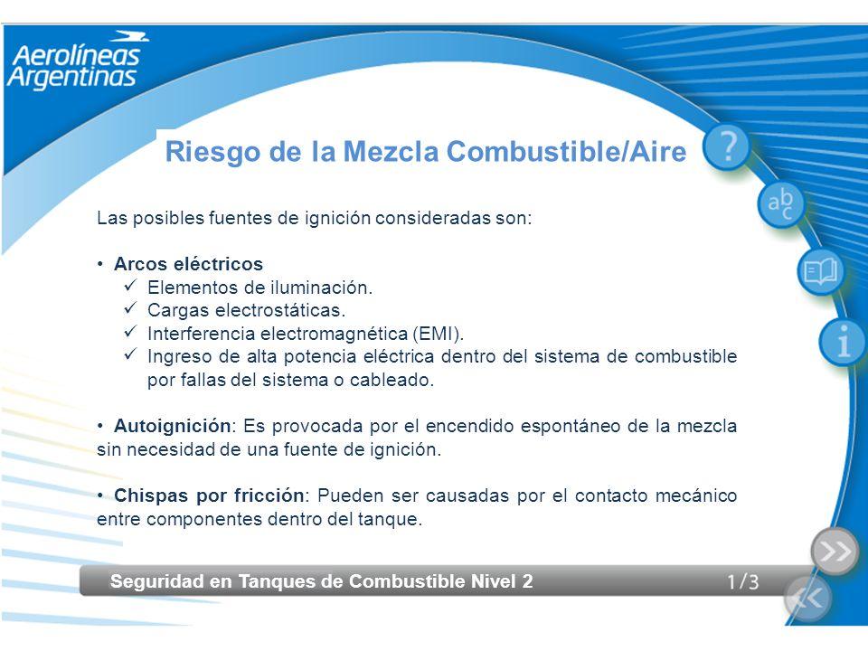 Seguridad en Tanques de Combustible Nivel 2 Riesgo de la Mezcla Combustible/Aire Las posibles fuentes de ignición consideradas son: Arcos eléctricos E