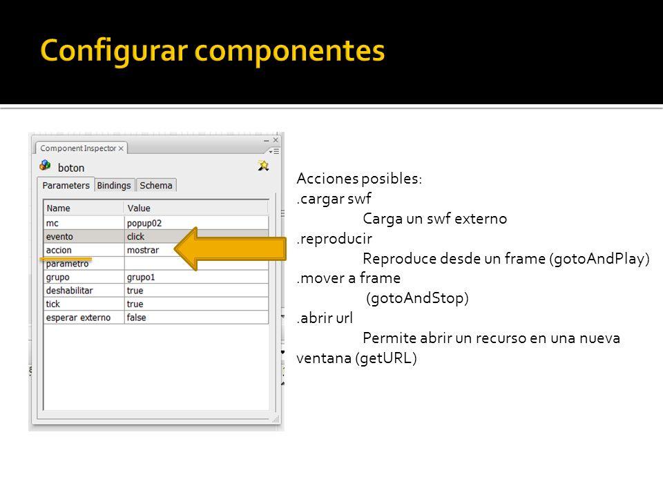 Acciones posibles:.cargar swf Carga un swf externo.reproducir Reproduce desde un frame (gotoAndPlay).mover a frame (gotoAndStop).abrir url Permite abrir un recurso en una nueva ventana (getURL)