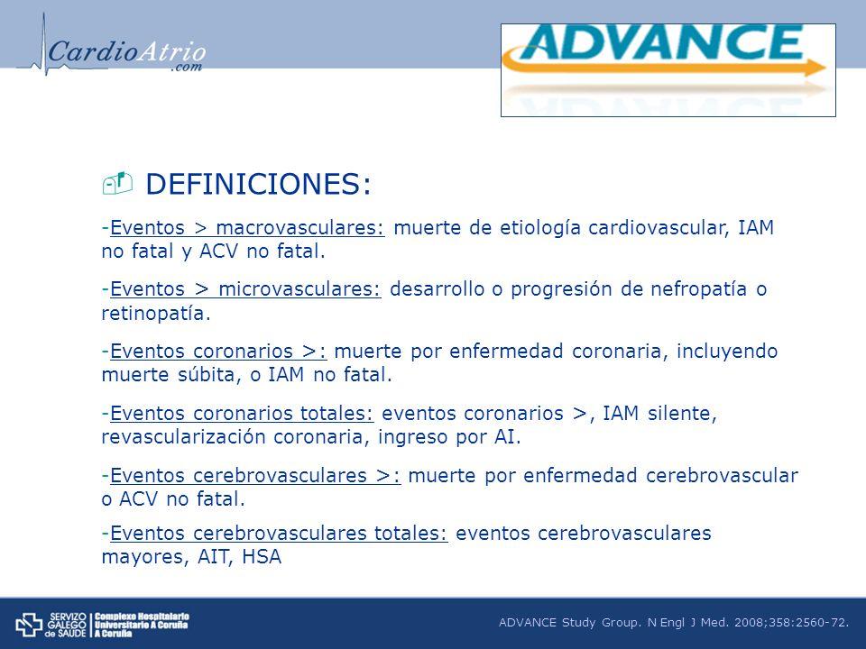 DEFINICIONES: -Eventos > macrovasculares: muerte de etiología cardiovascular, IAM no fatal y ACV no fatal. -Eventos > microvasculares: desarrollo o pr