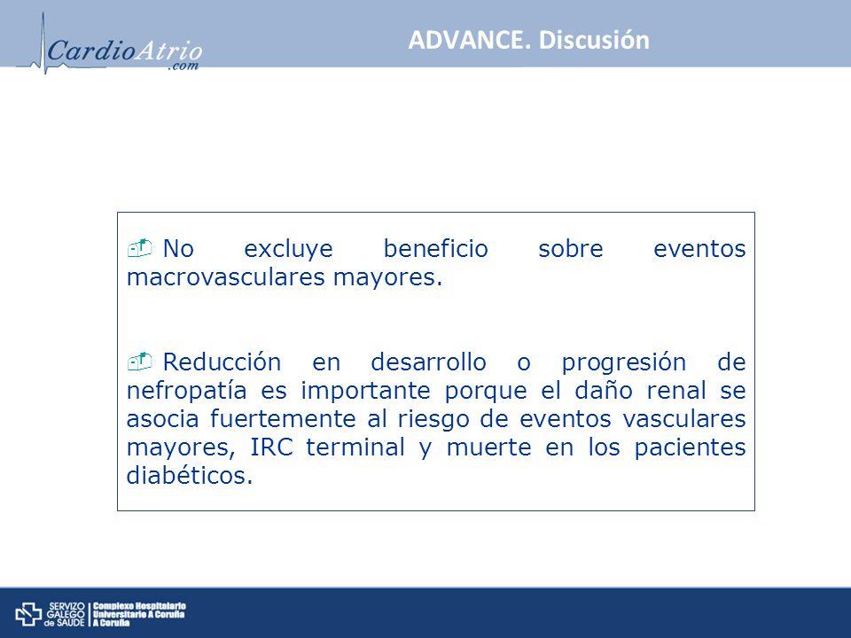 No excluye beneficio sobre eventos macrovasculares mayores. Reducción en desarrollo o progresión de nefropatía es importante porque el daño renal se a