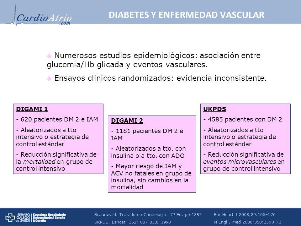 Numerosos estudios epidemiológicos: asociación entre glucemia/Hb glicada y eventos vasculares. Ensayos clínicos randomizados: evidencia inconsistente.