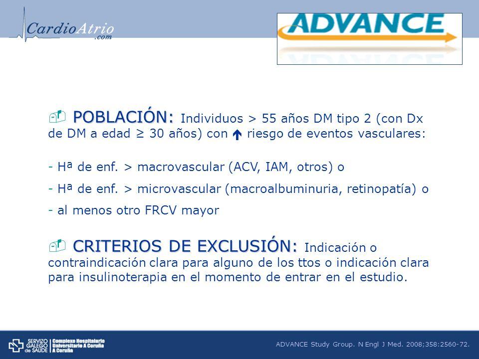 POBLACIÓN: POBLACIÓN: Individuos > 55 años DM tipo 2 (con Dx de DM a edad 30 años) con riesgo de eventos vasculares: - Hª de enf. > macrovascular (ACV