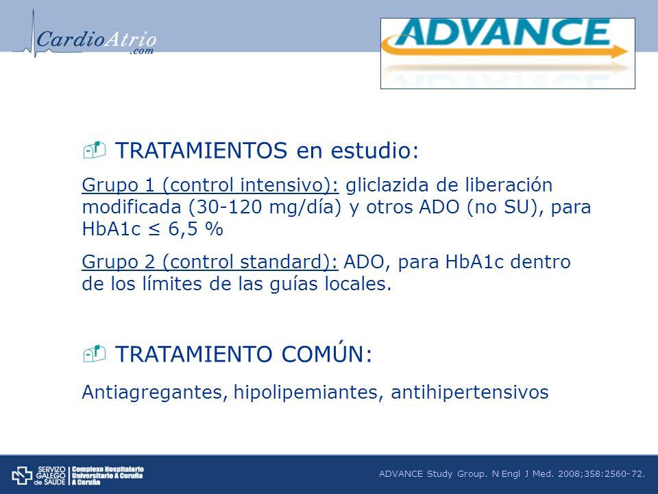 TRATAMIENTOS en estudio: Grupo 1 (control intensivo): gliclazida de liberación modificada (30-120 mg/día) y otros ADO (no SU), para HbA1c 6,5 % Grupo