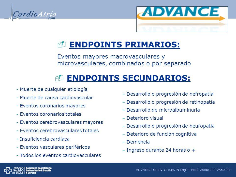 ENDPOINTS PRIMARIOS: Eventos mayores macrovasculares y microvasculares, combinados o por separado ENDPOINTS SECUNDARIOS: - Muerte de cualquier etiolog