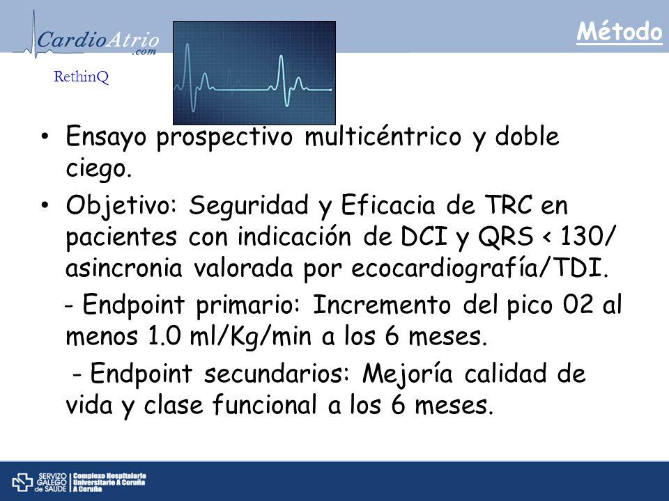 Método Ensayo prospectivo multicéntrico y doble ciego. Objetivo: Seguridad y Eficacia de TRC en pacientes con indicación de DCI y QRS < 130/ asincroni
