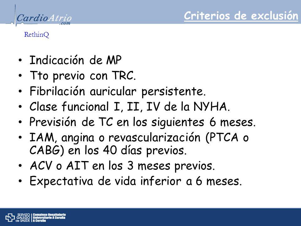 Criterios de exclusión Indicación de MP Tto previo con TRC. Fibrilación auricular persistente. Clase funcional I, II, IV de la NYHA. Previsión de TC e