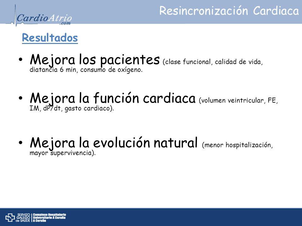 Resultados Mejora los pacientes (clase funcional, calidad de vida, diatancia 6 min, consumo de oxígeno. Mejora la función cardiaca (volumen veintricul