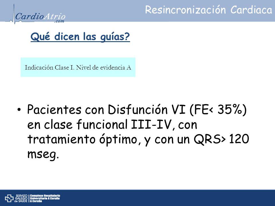 Qué dicen las guías? Pacientes con Disfunción VI (FE 120 mseg. Indicación Clase I. Nivel de evidencia A Resincronización Cardiaca