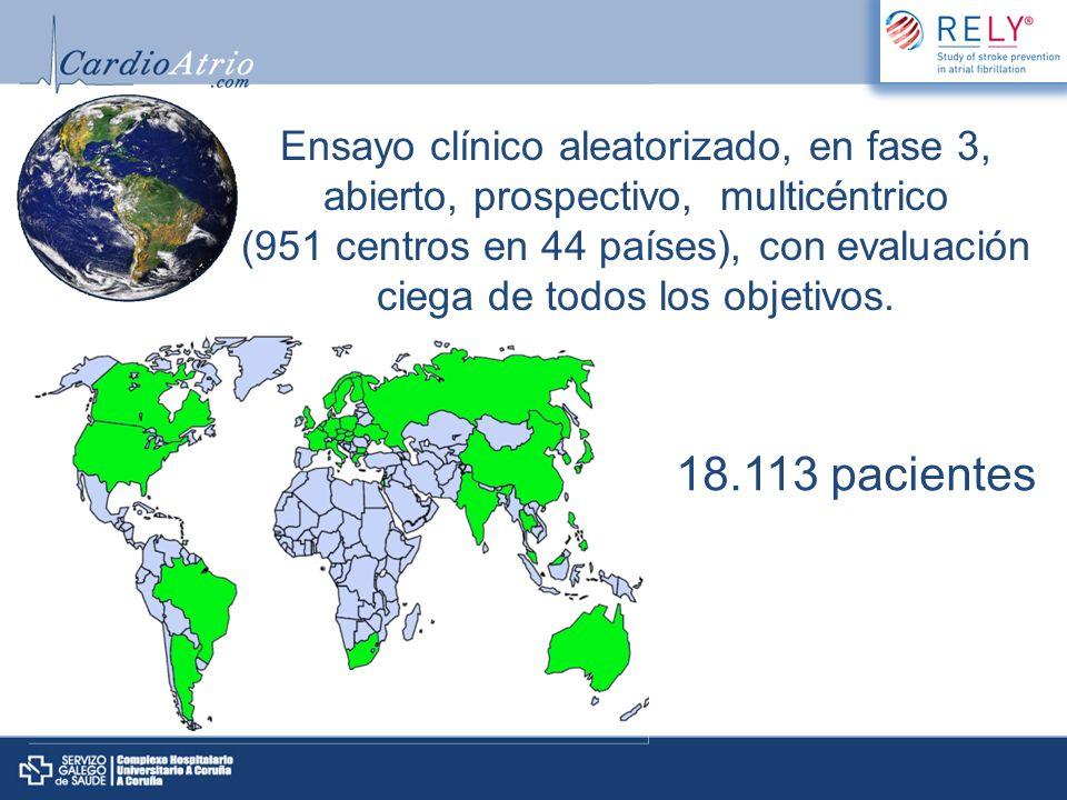 Ensayo clínico aleatorizado, en fase 3, abierto, prospectivo, multicéntrico (951 centros en 44 países), con evaluación ciega de todos los objetivos. 1