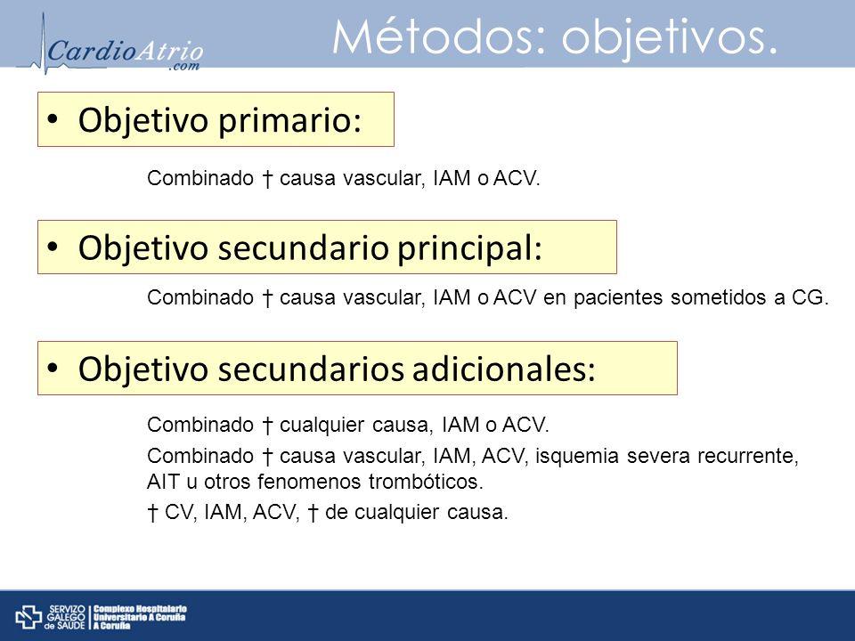 Métodos: objetivos. Objetivo primario: Combinado causa vascular, IAM o ACV. Objetivo secundario principal: Combinado causa vascular, IAM o ACV en paci
