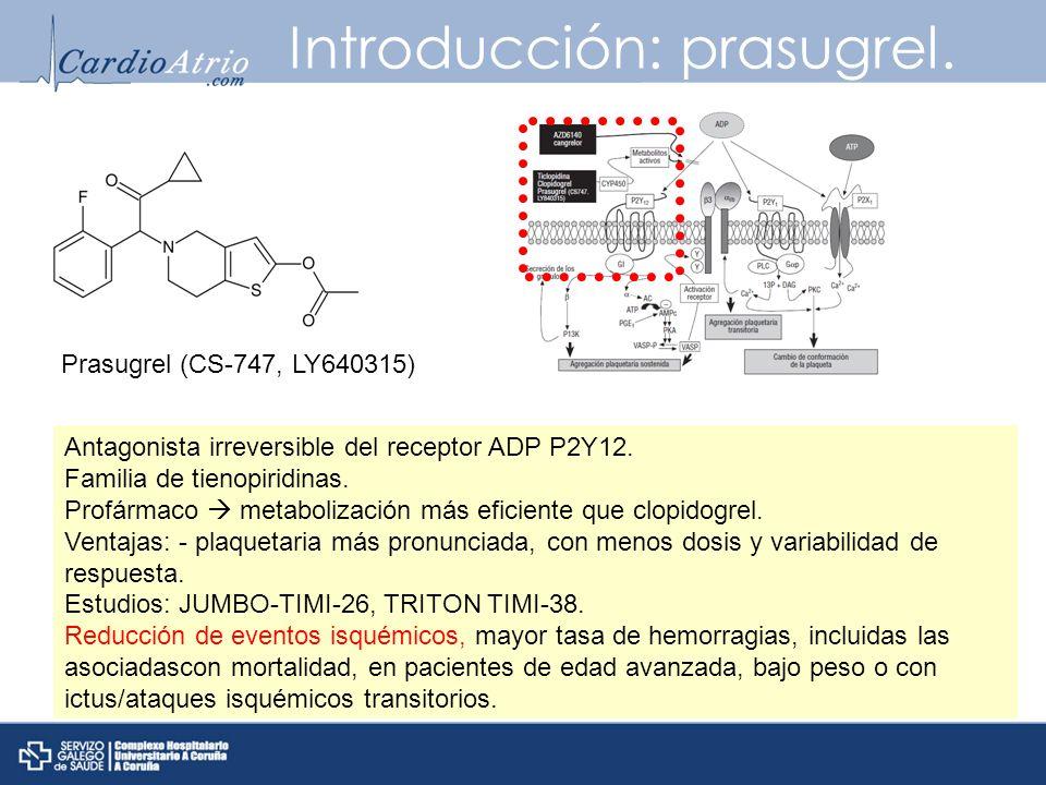 Introducción: prasugrel. Antagonista irreversible del receptor ADP P2Y12. Familia de tienopiridinas. Profármaco metabolización más eficiente que clopi